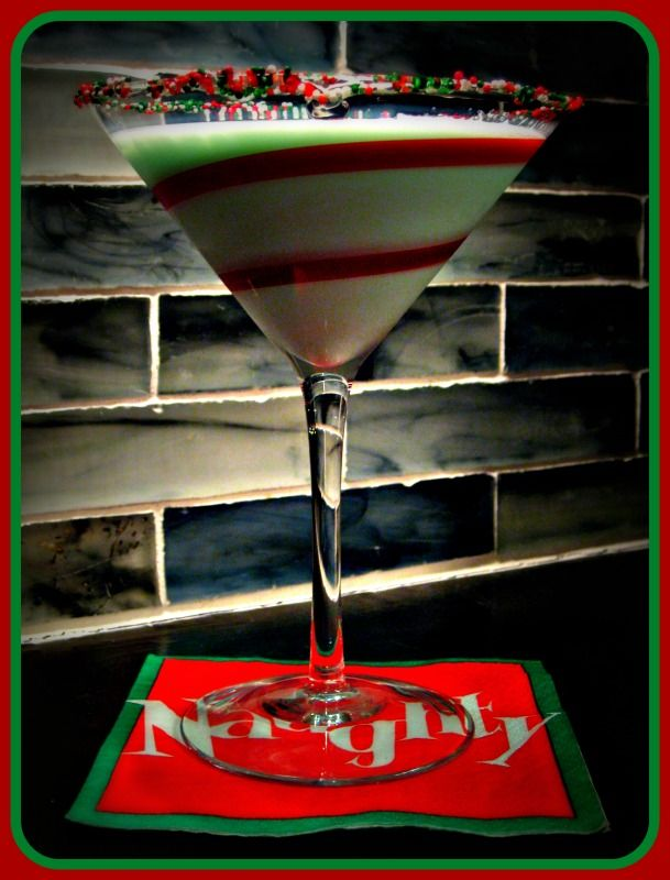 Green Grinch Martini -1.5 ounces Pinnacle Vodka Peppermint Bark Vodka [you can substitute vanilla vodka if you can't find the Peppermint Bark Vodka] -1.5 ounces Godiva Spirits White Chocolate Liqueur -1.5 ounces cream. -.5 ounce creme de menthe -if you've been super naughty, add an extra .5 ounce of creme de menthe!