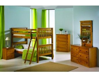 Twin/Twin Mission Bunk Bed Honey with Tilt Ladder