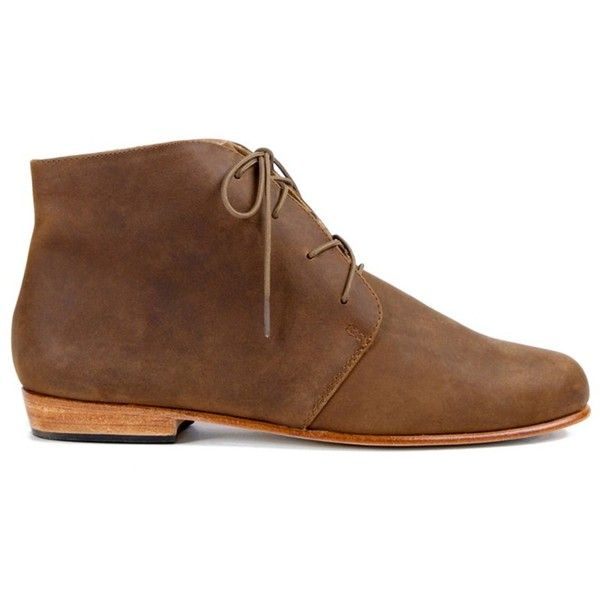 Nisolo Nisolo Women's Harper Leather Chukka Boot (160 AUD) ❤ liked on Polyvore featuring shoes, boots, brown, brown chukka boots, leather shoes, faux leather cap, brown leather boots and lace up boots