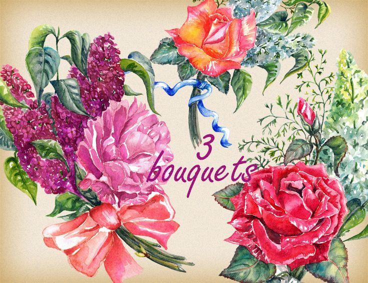 lilac clipart, rose clipart, Bouquets, floral clpart