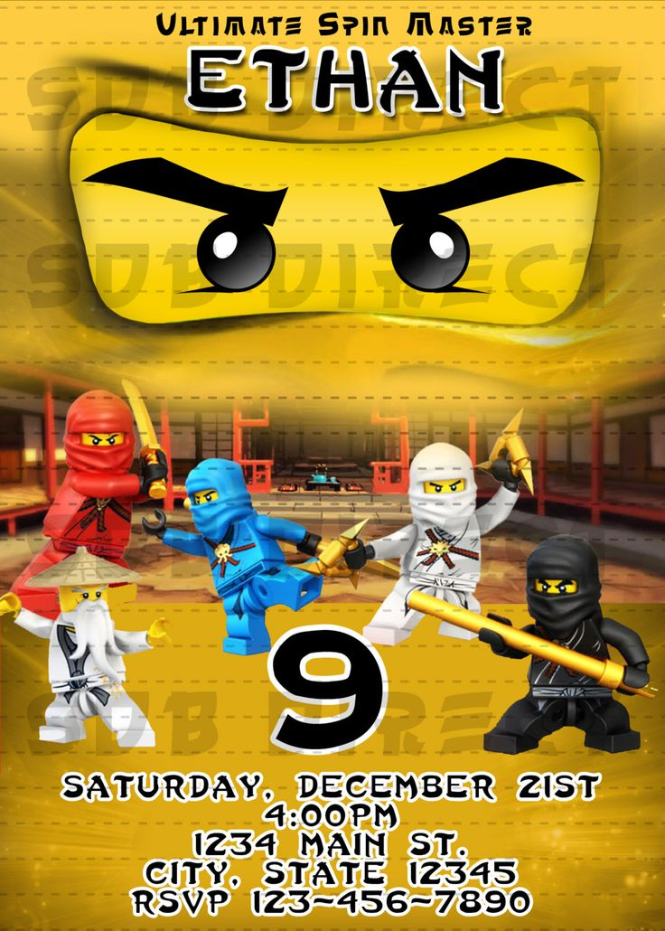 17 Best images about Ninjago Party – Ninjago Party Invitations