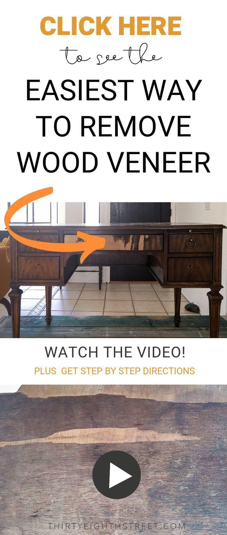 So Entfernen Sie Holzfurnier Schnell Mit Einer Heissluftpistole Furniermobel Klicken Sie Furniture Makeover Pallet Patio Furniture Veneer Furniture Makeover