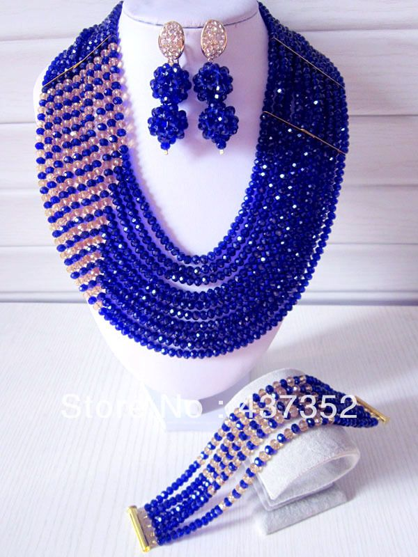 Fashion Royal Blue Multistrand Nigerian Wedding African Beads Jewelry Set Crystal Necklace Bracelet And Earrings CPS-053