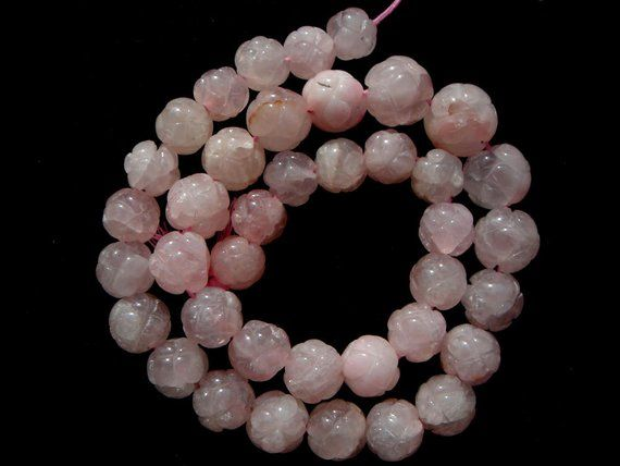 Rose Quartz Carved Round (Dyed), (Quality C), 36 cm, 9 to 12 50 mm