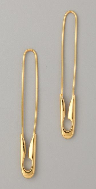 TOM BINNS Small Gold Safety Pin Earrings