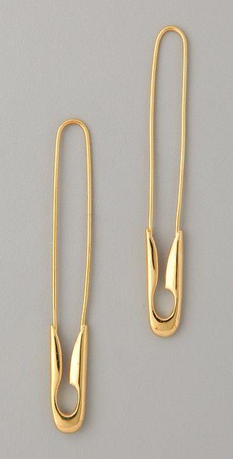 TOM BINNS Small Gold Safety Pin Earrings