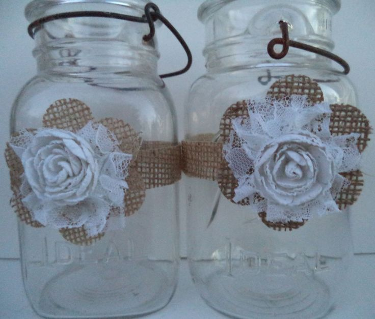 10 Primitive Burlap Flower White Mason Jar Country Barn Wedding Decorations in Centerpieces & Table Decor | eBay