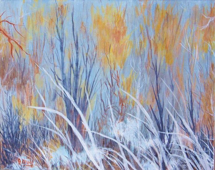 Pat Adams Original 8x10 Eden Utah Winter Snow Painting Peaceful Stillness Golden Grasses Acrylic OOAK Orange Gold Gray White Blue  Yellow by PatAdamsArt on Etsy