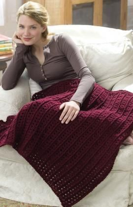 Crochet One-Skein Lap Throw Free Pattern from Red Heart Yarns