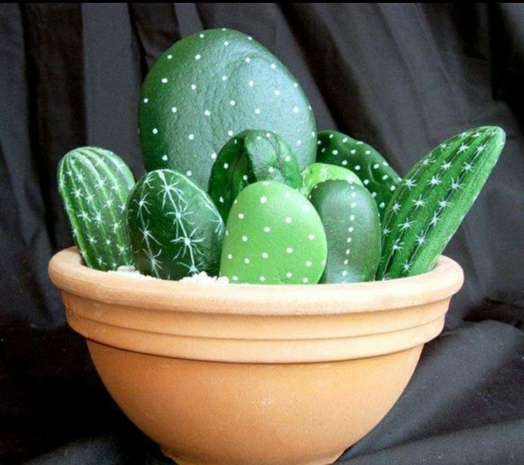 Rock painting to look like cacti! Such a fun idea.