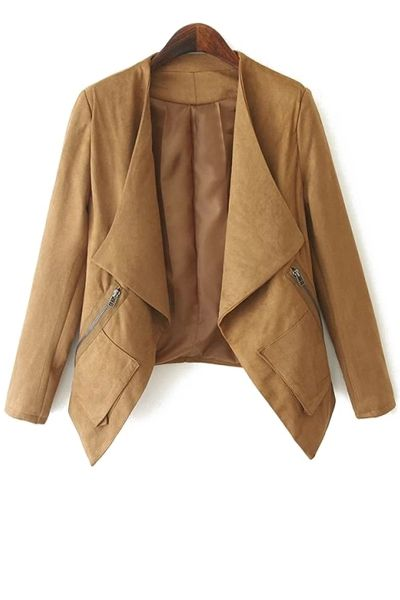 Open Front Zip Pockets Suede Jacket