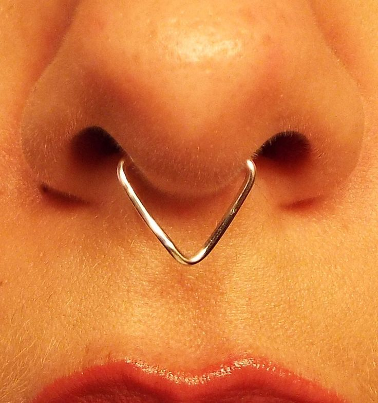 Triangle Septum Ring / Chevron Septum / Spike Septum / 18 Gauge Fake No Piercing Needed Wire Nose Ring