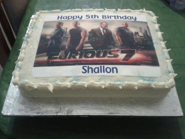 Vanilla, rectangle cake with rice paper image. Fast and the Furious 7 birthday!