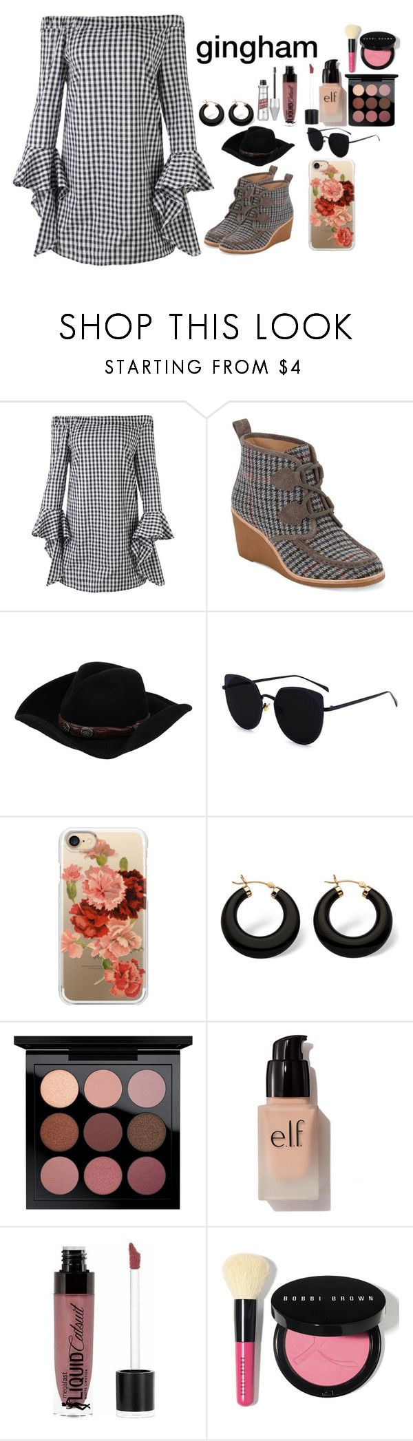 """""""Gingham dress"""" by ritisha-singh ❤ liked on Polyvore featuring Nasty Gal, G.H. Bass & Co., Stetson, Casetify, Palm Beach Jewelry, MAC Cosmetics, e.l.f., Wet n Wild and Bobbi Brown Cosmetics"""