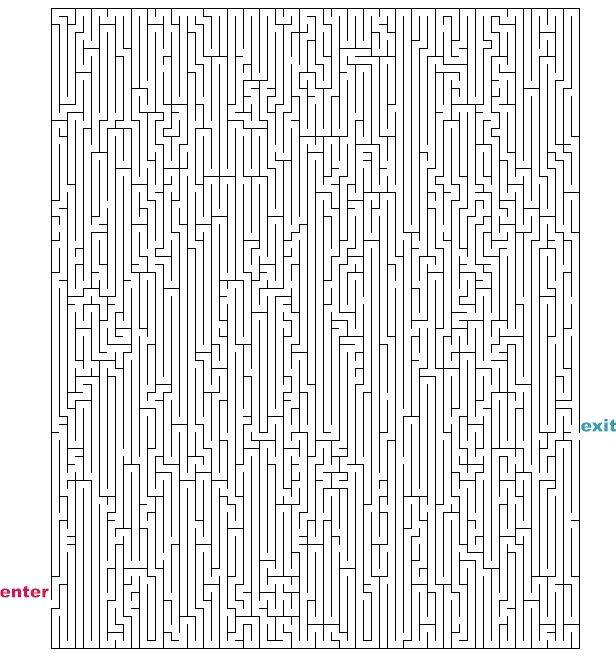 Level 5 von 5 - schwer; Alter: ab 12 Jahre; Hard Maze Games to Print | Mazes to Print - Hard Rectangle Mazes