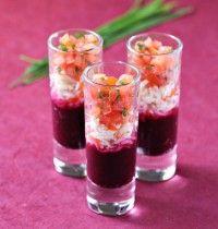Verrines surimi, tomate et betterave