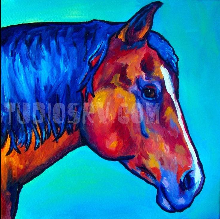 Horse original artwork by studiosrv acrylic on canvas art for Easy acrylic animal paintings
