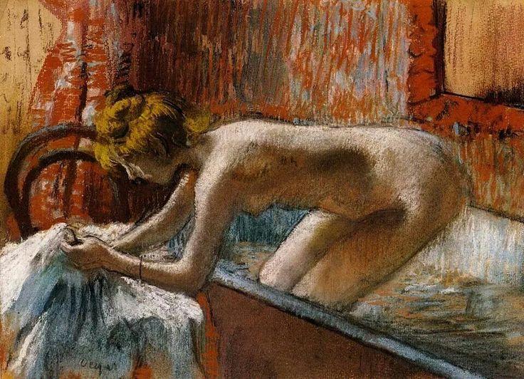 Edgar Degas - Donna che esce dal bagno