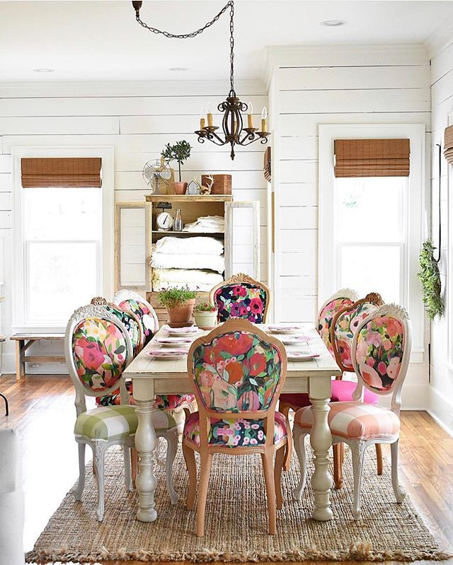 Farmhouse Farmhouse Table With Whimsical Floral Chairs In A Variety Of Fabrics And Colors By Ch Dining Room Makeover Shabby Chic Dining Room Chic Dining Room Shabby chic dining rooms chairs