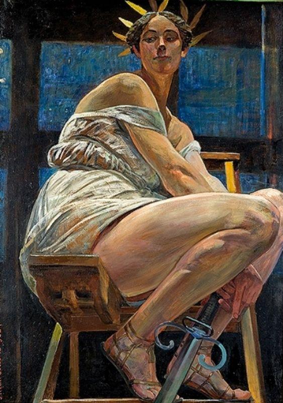 Jacek Malczewski - Nike in the artist's studio (1922)