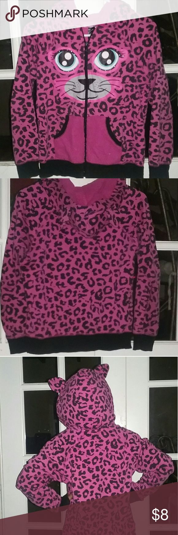 Pink little girl cheetah jacket Pink cheetah jacket with face painted on the front. It also has ears on the hoodie. It has been worn several times and washed many times so size may not be exact. Any reasonable offers considered. Sey Esteem Jackets & Coats