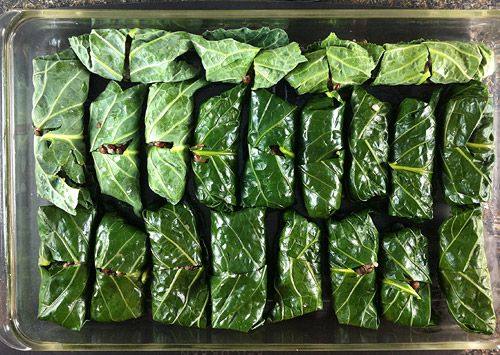 Collard Rolls with Lentils andRice - Recipes - Cook for Good, home of Wildly Affordable Organic Vegetarian and Vegan Recipes