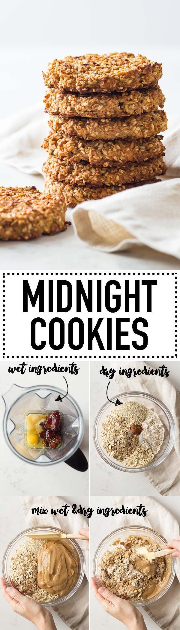 Midnight Cookies are made of all insomnia-fighting ingredients! The best midnight snack recipe ever! Refined sugar-free but still deliciously sweet and full of healthy fats to keep you satisfied all night. via @greenhealthycoo