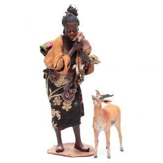 Mora con cucciolo di antilope 30 cm presepe Angela Tripi | vendita online su HOLYART