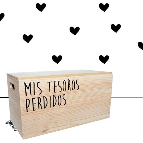 Caja guarda juguetes de madera con la frase Mis tesoros perdidos - Minimoi