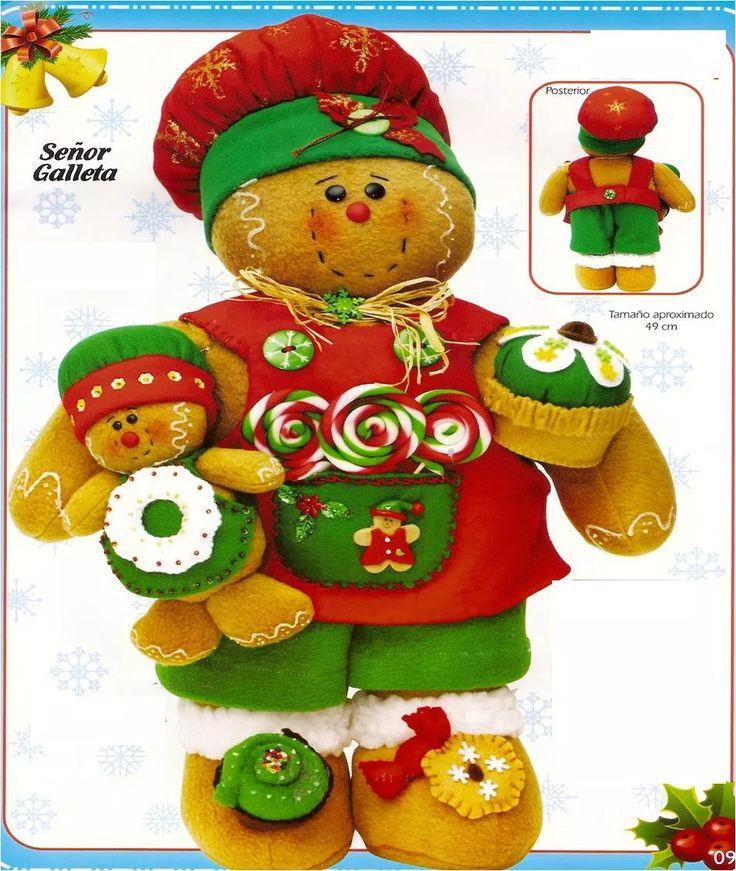 patron para elaborar pareja de galletas navidad