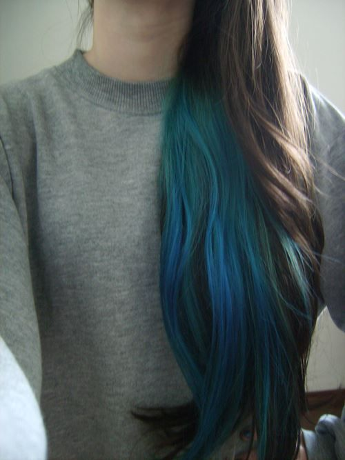 Gorgeous blue-teal underlayer with blonde/brown hair