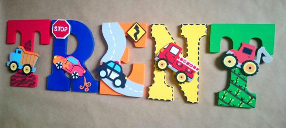 Custom Wood Nursery Letters/ Personalized in by SplendidlySassy, transportation Toddler Room