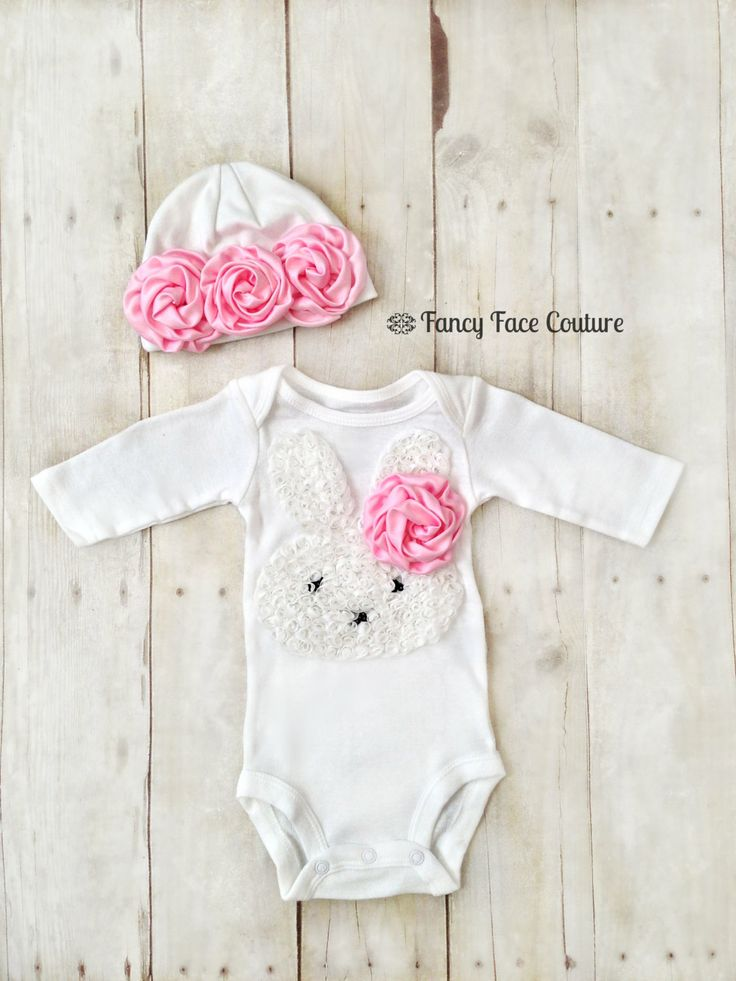 Baby Girl Newborn Take Home Outfit Bunny Pink Rosettes Baby Hat Little girls Boutique clothes baby girl newborn Sizes Preemie - 24 Months. $34.95, via Etsy.
