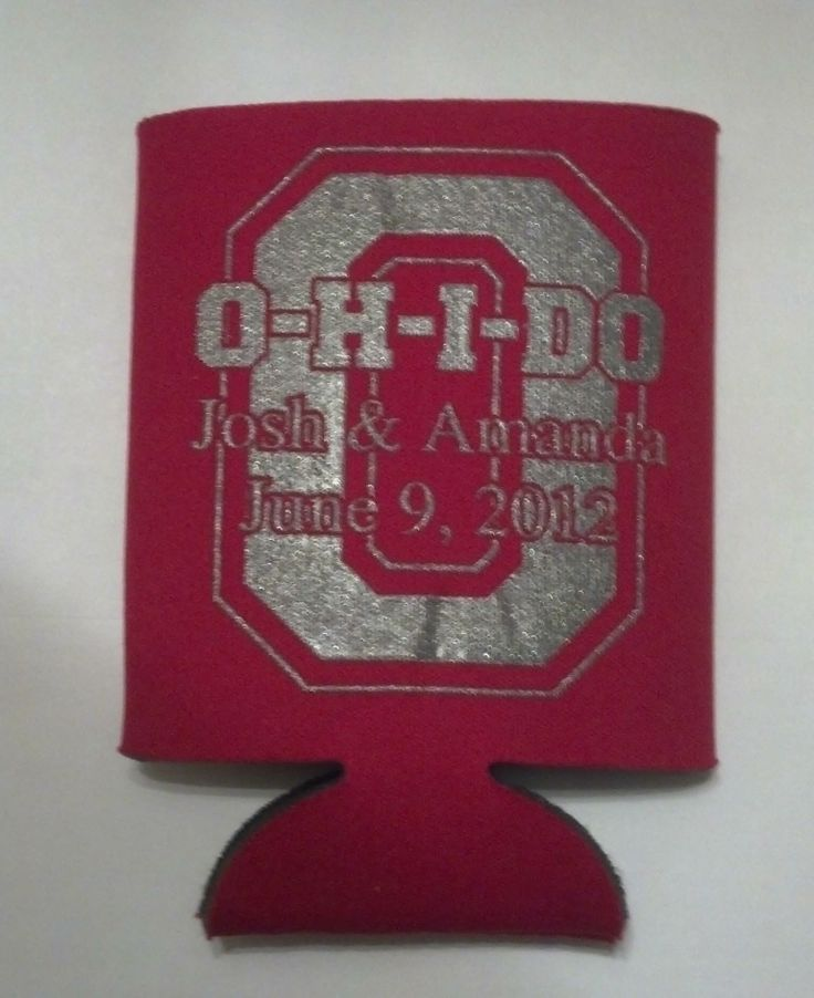 Ohio State Theme Can Coozies.  OH-I-DO!  We love doing Ohio State Buckeye theme receptions and we can even do the uplighting in grey and scarlet or any other college or pro football colors!