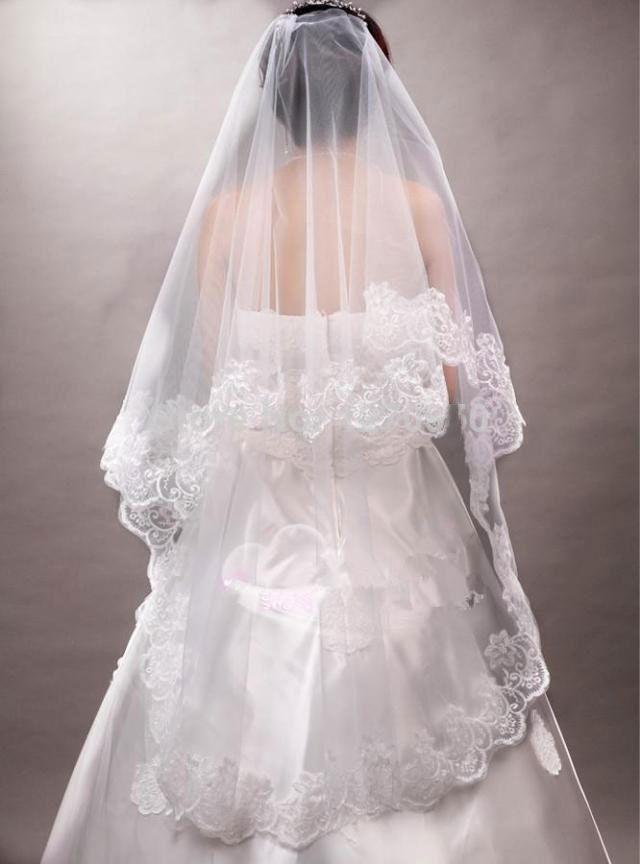 Dlouhé koncové svatební závoj, svatební doplňky, krajky měkké krátké bílé ženy, laciness dlouhý závoj 2015 nové přizpůsobitelné čelenka