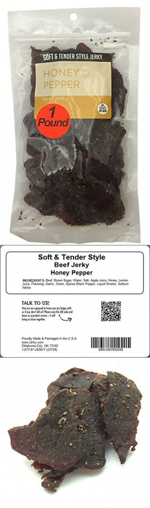Honey Pepper Soft and Tender Style Bulk Beef Jerky - 1 POUND BEEF JERKY BAG - High Protein Jerky - Healthy Lean Meat Snack - Try Our Best Tasting Soft Beef Jerky - 16 oz.