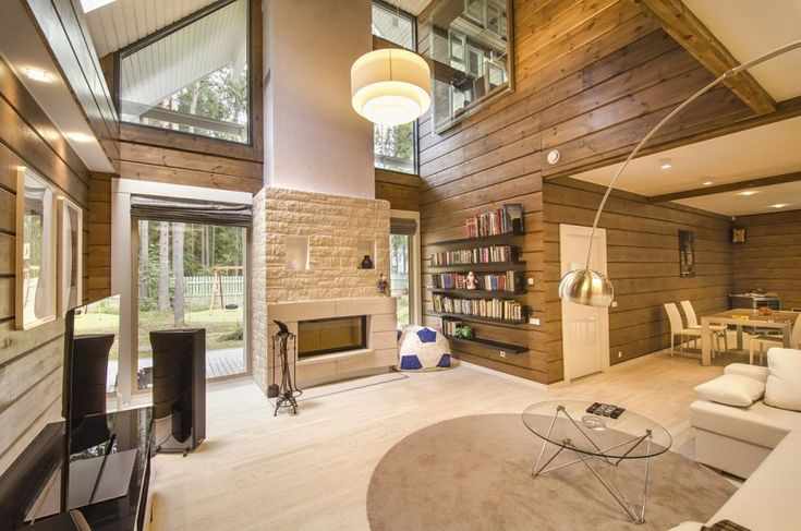 Luxurious and modern interior of a hope model rovaniemi - Range bois interieur maison ...