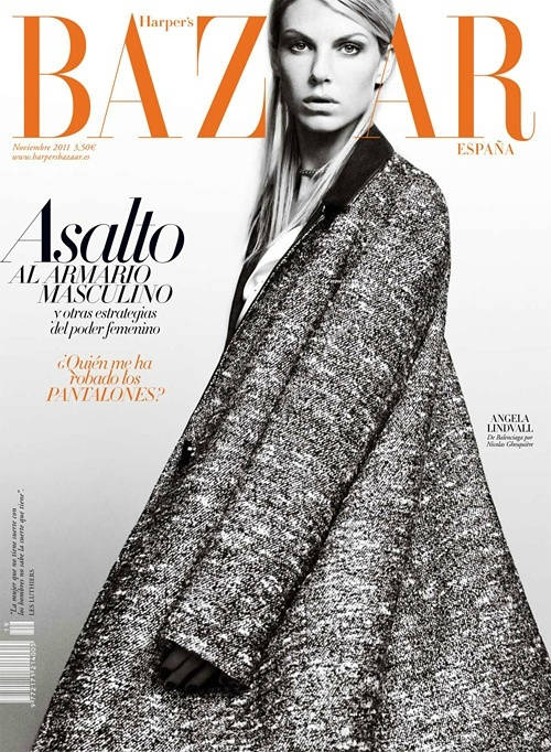 Harper's BazaarAngela Lindvall, Bazaars España, November 2011, Bazaars Spain, Harpers Bazaars, 2011 Covers, Bazaars Worldwide, Spain November, Magazines Covers