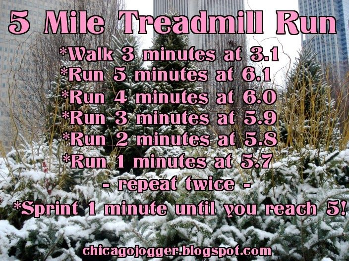 5 Mile Treadmill Run - a running workout for cold winter months | chicagojogger.com