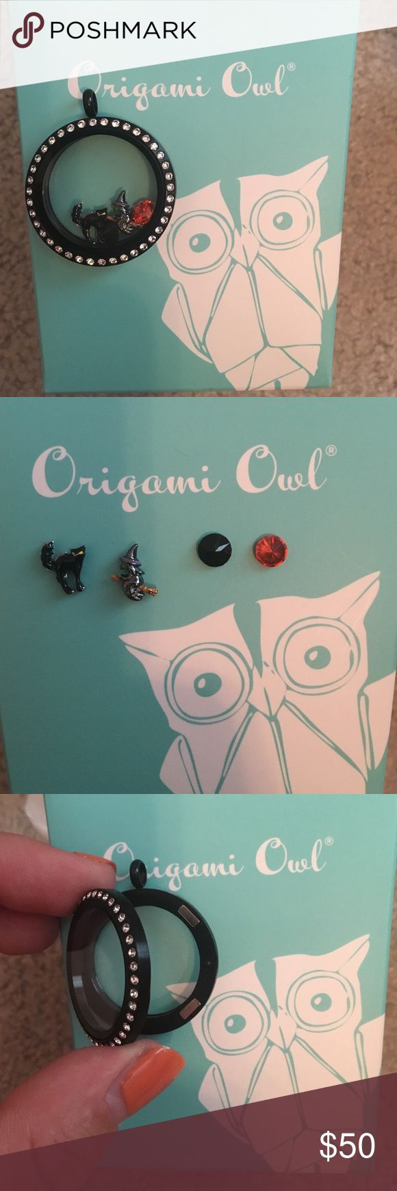 Origami Owl Halloween locket INCLUDES: Large black flip open locket (complete locket) with witch, cat, black and orange charm. Origami Owl Jewelry Necklaces