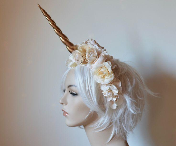Gold, Cream, & Ivory Unicorn Headdress, fantasy wedding, bridal crown, cosplay, halloween, costume, fairytale endings, burning man by Serpentfeathers on Etsy https://www.etsy.com/listing/467773618/gold-cream-ivory-unicorn-headdress