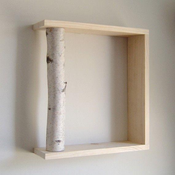 White Birch Forest - organic wall art/box shelf. virtualdesignlab $32