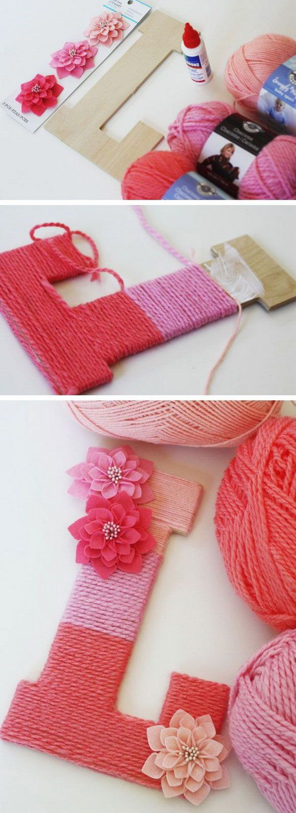 Make a Yarn Wrapped Ombre Monogrammed Letter. Wrap yarn around a letter made out a wood letter for a cute sign in the home. Tutorial via