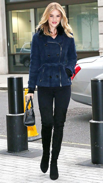 Rosie Huntington-Whitely in jeans, a navy peacoat and Stuart Weitzman boots