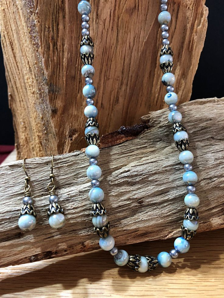 Blue Shell bead Necklace and Earring Set, Pearl Shell bead Necklace, Jewelry set, Antique Brass Necklace, Women's Necklace, Gift for her