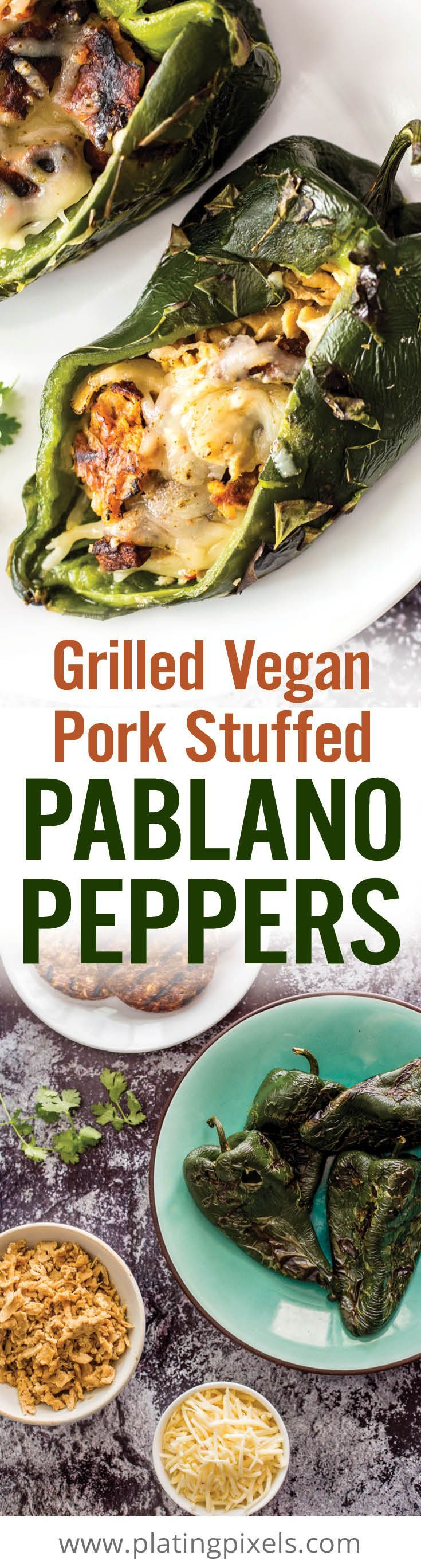 Grilled Vegan Pork Stuffed Poblano Peppers are an easy vegan summer grilling recipe. Poblano peppers stuffed with 'pork', black beans, cheese and avocado. [ad]  #VeggieSummerGrilling - www.platingpixels.com