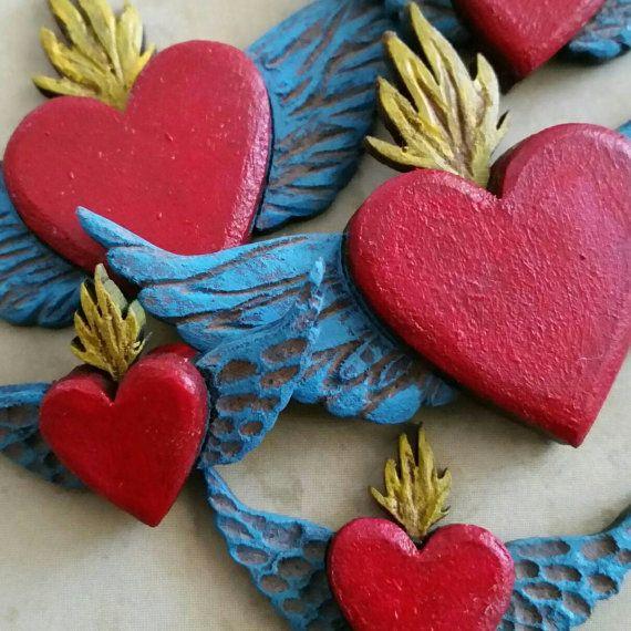 Día de las piezas del Santuario de matchbox muertos talladas a tamaño de 3 pulgadas de sagrados corazones