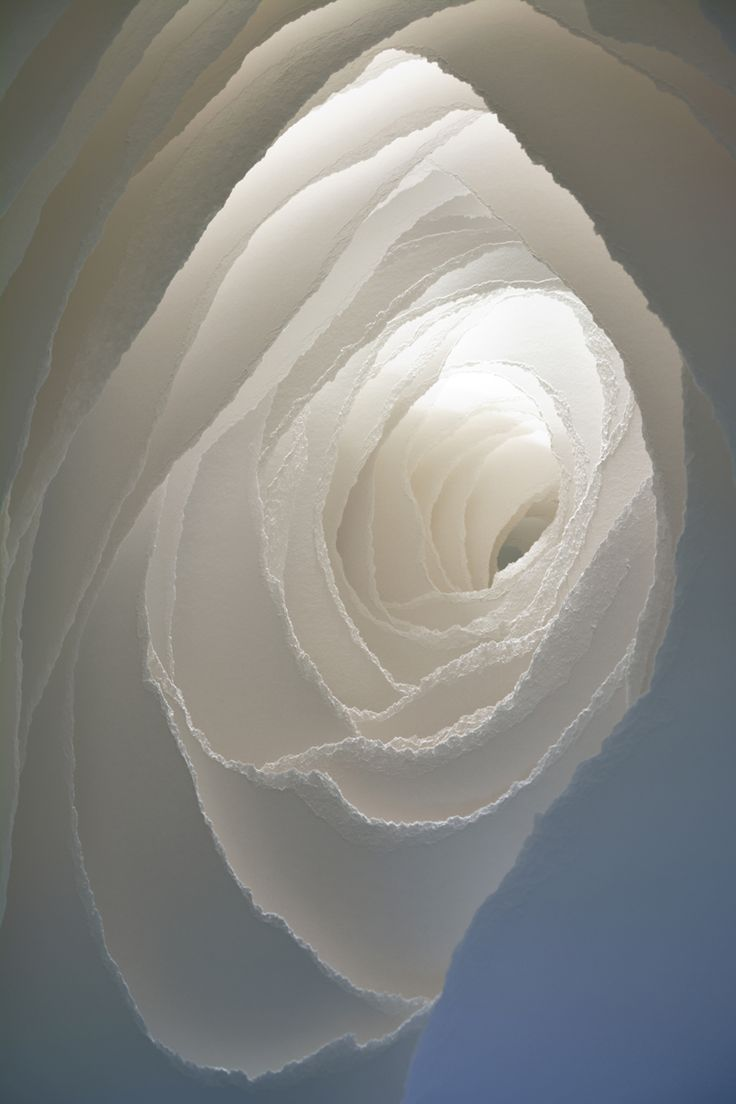 Paper Sculpture with layered white textures; paper art installation // Angela Glajcar