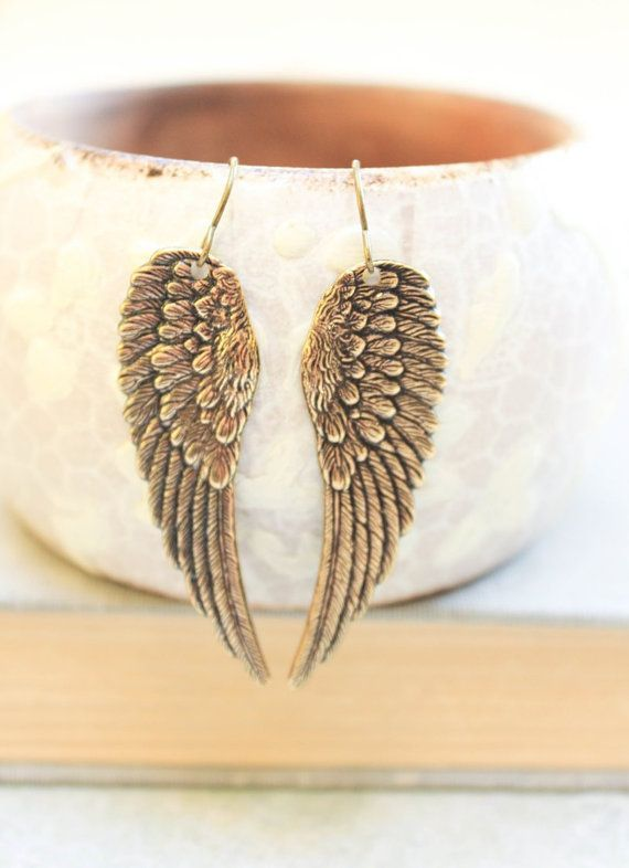 Long Wing Earrings Antique Gold Br Angel Wings Cherub Faerie Fairy Bird Dangle