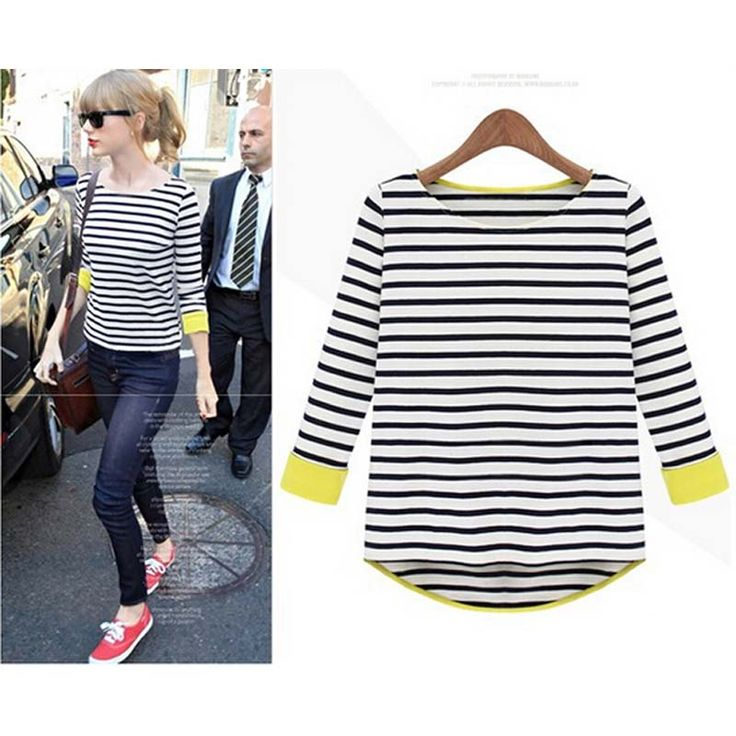 Fashion t-shirts 2017 new arrive autumn plus size clothing female three  quarter sleeve navy style stripe women t-shirts 4957